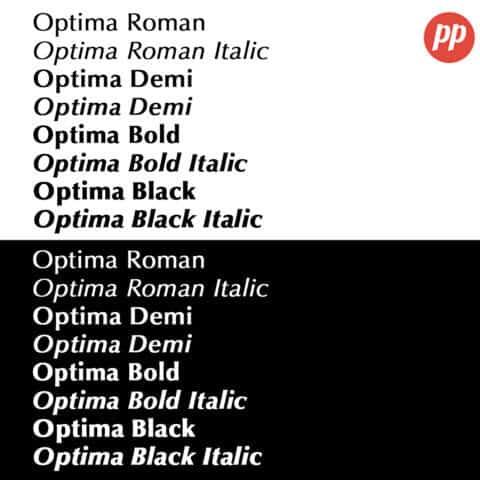 Proof Positive - Optima Font