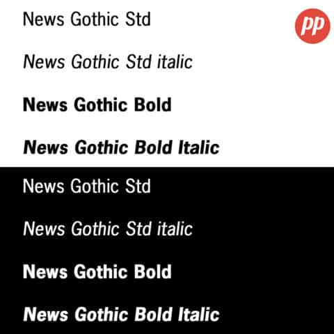 Proof Positive - News Gothic Font
