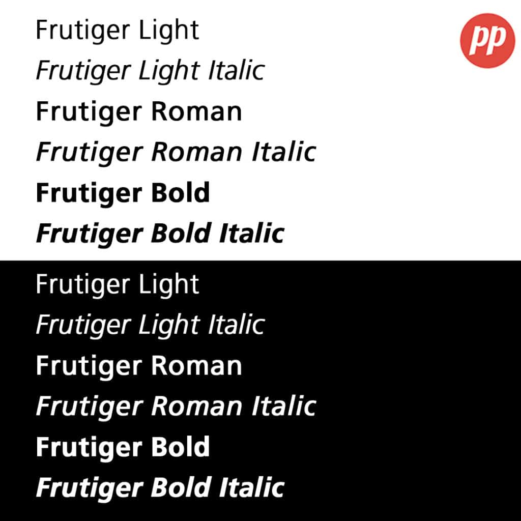 Proof Positive - Frutiger Font