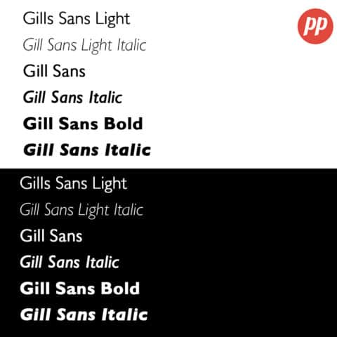 Proof Positive - Gill Sans Font