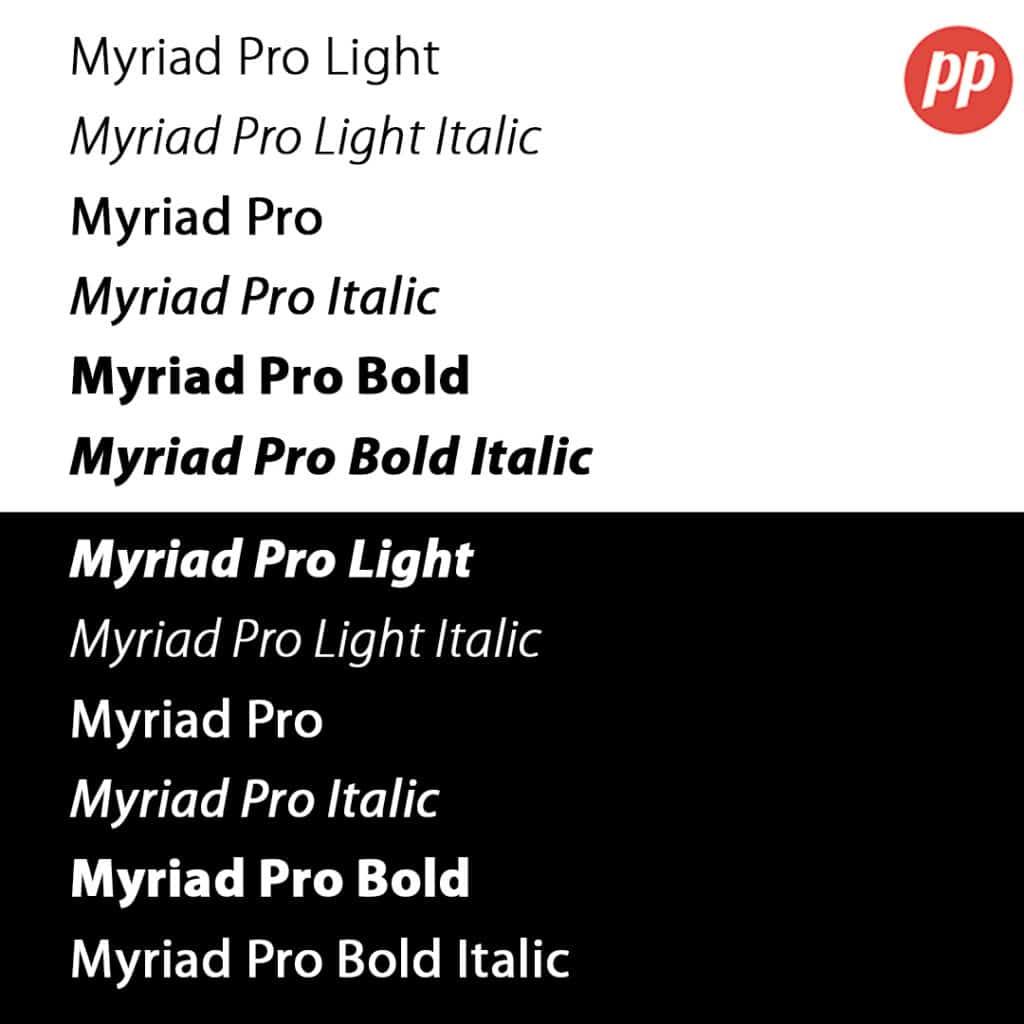 Proof Positive - Myriad Pro Font