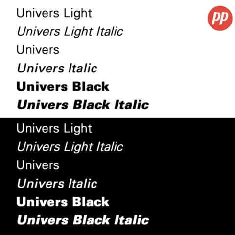 Proof Positive - Univers Font