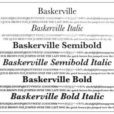 Baskerville Font Poster